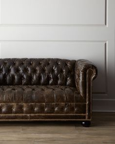 """St. Andrews"" Leather Sofa by Old Hickory Tannery at Horchow. Distressed moss green leather sofa is accented with nailhead detail and allover tufting. 64""W x 34.5""D x 30""T; seat, 17""T Made in the USA"