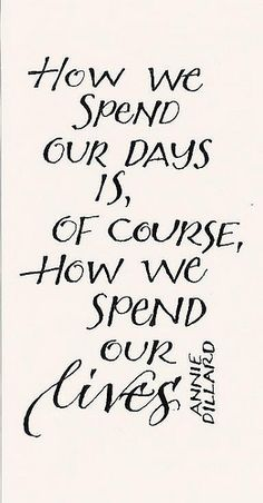 How we spend our days is, of course, how we spend our lives. / Insight <3