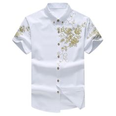 2d4370476a4a6 Mens Floral Printing Fashion Chinese Style Turn-down Collar Short Sleeve  Big Size Shirts Mens
