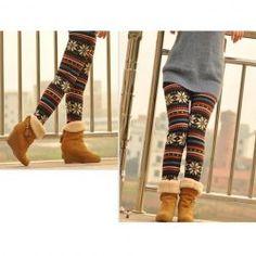 Cheap Korean Style Snowflake Pattern Printed Nine-Cent Leggings For Female, Leggings - Rosewholesale.com
