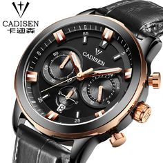 cadisen Mens Watches Top Brand Luxury Calendar Display Quartz Watch Men 2016 Business Leather Band Relogio Masculino