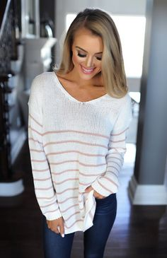 Ivory/Rose Striped Button Sweater - Dottie Couture Boutique