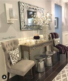 Fashion Look Featuring Bassett Mirror Mirrors and Waterford Candles by – ShopStyle Entryway decor. Fancy Living Rooms, Glam Living Room, Living Room Decor Cozy, Home And Living, Living Room Designs, Hallway Table Decor, Entryway Decor, Entryway Table Decorations, Entryway Tables