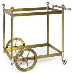 Modern Furniture | Cheval Brass Bar Cart | Jonathan Adler