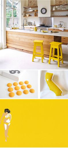 a dreamy kitchen in wood, white, and happy splashes of yellow