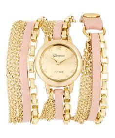Love this Pink & Gold Wrap Watch on #zulily! #zulilyfinds