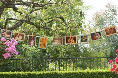 Cool baby shower idea- Use a clothesline and clothespins and old photos of the parent-to-be to decorate