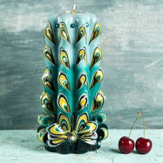 Carved candle Carved candles Gift for mom Peacock by EveArtCandles