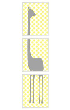 Giraffe Nursery Wall Art Print   Gray Yellow by RizzleandRugee. I'm getting a baby just so I can buy this.