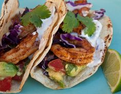 Grilled Shrimp Tacos with Avocado Salsa ...MMMM I WANT THIS NOW!!