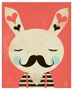 love bunny with mustache