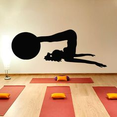 Woman with a Ball Fitness Exersice Gym Sport People by CozyDecal, $17.99