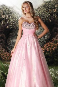 Disney Forever Enchanted Pink Strapless Beaded Bust Long Prom Dress #ShopSimple