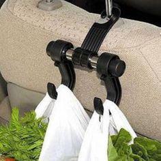 Noir Automobile De Voiture Siège Arrière Crochets pour L'épicerie Auto Véhicule Cintre Flexible Support De Voiture Clip Voiture Appui-Tête Sac Crochet