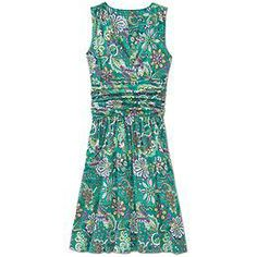 Printed Jura Dress - Soft, stretchy cotton and modal combine in shirred-waist dresses that look great dressed up or down.