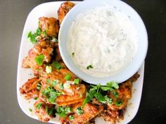 Citrus Spicy Wings with Cilantro Dipping Sauce