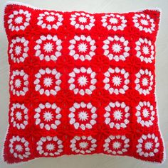 the red and white crochet granny square cushion cover / pillow cover