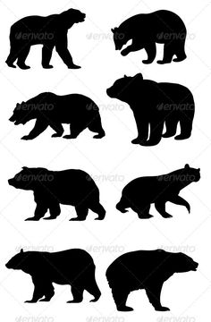 bear silhouette pattern free | GraphicRiver Bear Silhouettes 8470404
