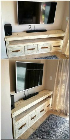 Here you can see an idea which works both as a TV stand and allows space to store the items which makes the TV launch look messy, if they are placed visible. It is better to copy an idea to create a reclaimed wood pallet TV stand that contains the space of placing the items for decoration purpose as well as the products that are necessary to be placed near the TV.
