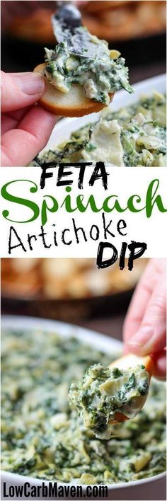 Feta Spinach Artichoke Dip is fast and tasty! | low carb, gluten-free, ketogenic, thm | http://LowCarbMaven.com
