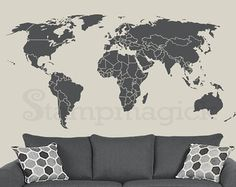 World Map Wall Decal / Sticker for kids bedroom, nursery or home. Design K135DG - World Map Wall Decal (choice of removable matt vinyl, Chalkboard, or white dry-erase vinyl)  ♥ P R O D U C T - D I M E N S I O N S ♥ Standard size options are available: 10 x 21 16 x 35 22 x 48 32 x 70 36 x 80  ♥ D E C A L - M A T E R I A L S ♥ Option 1: Removable Matt Vinyl (choose from 30 colors; default dark grey) We use high-quality commercial-grade removable wall decal which creates a beautiful paint-l...