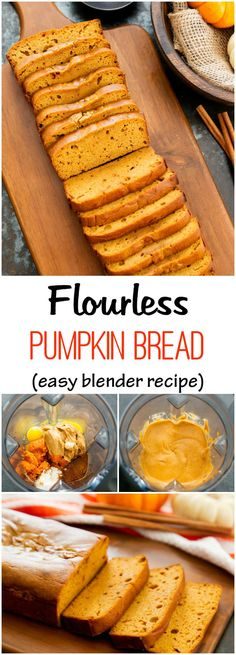 Change sugar to make keto Flourless Pumpkin Bread. As fluffy and moist as traditional pumpkin bread but without the flour! Gluten Free Baking, Healthy Baking, Gluten Free Recipes, Low Carb Recipes, Cooking Recipes, Healthy Recipes, Vegetarian Recipes, Cooking Pork, Blender Recipes