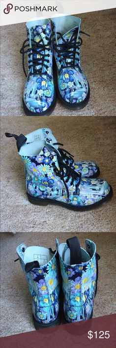 Slime-floral Pascal Doc Martens Purple slime- floral pascal Doc Marten boots in a women's size 8 (UK 6). I've only worn these a couple of times- I'm an 8.5 and they fit pretty well. Like new condition! Dr. Martens Shoes Combat & Moto Boots