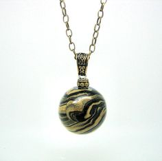 Custom Gold and Black Ball Charm Pendant by ClayWorksbyTRhoads on Etsy, $26.00