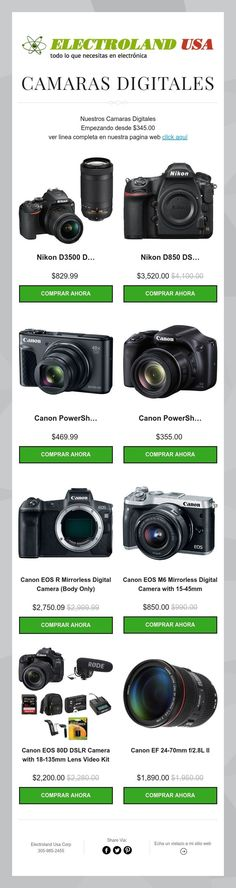 Ver linea completa de camaras digitales en nuestra pagina web www.electrolandusa.com #Nikon #Canon #DSLR #Mirrorless