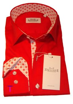 New Mens Formal Smart Casual Diamond Collar Italian Red and White Slim Fit Shirt