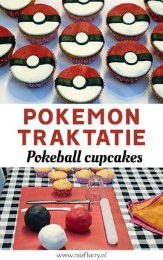 Lekkere en makkelijke Pokémon traktaties: Pokeball cupcakes! Leuk voor kinderen om uit te delen op school. Duidelijke stap-voor-stap uitleg met foto's. #traktatie #pokemon Pokemon Birthday, Pokemon Party, Diy Party Themes, Party Ideas, Pokeball Cupcakes, No Bake Desserts, Party Planning, Healthy Snacks, Food And Drink