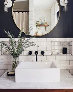 modern industrial bathroom // gray and white bathroom // subway tile - Salle de Bains 02 Bathroom Renos, Budget Bathroom, Bathroom Interior, Remodel Bathroom, Bathroom Furniture, Bathroom Ideas, Bathroom Vanities, Bathroom Hacks, Bathroom Inspo