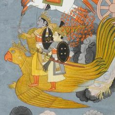 Sri Krishna riding on Garuda,Harivamsa.