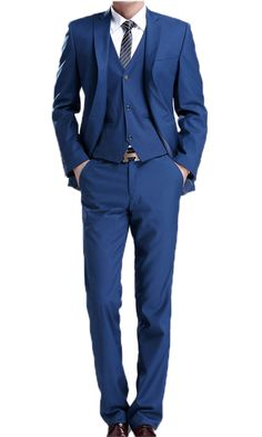 Men Wedding Suits 3 Pieces Royal Blue Jacket Pants with Waistcoat