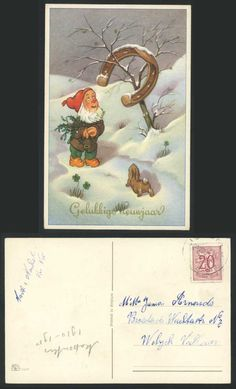gnome stamp card | Gnome Horseshoe Rabbit, Snow Happy New Year Gelukkig Nieuwjaar 1958 ...