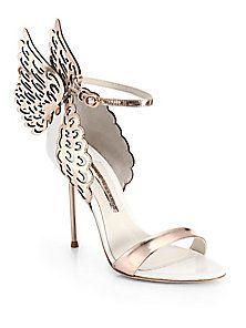 7aeb8ae2e25a Sophia Webster - Evangeline Winged Leather Sandals Embellished Heeled  Sandals