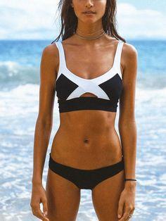 817c54d998 Color Block Contrast Cut Out Details Bikini Top and Bottom Bikini Set