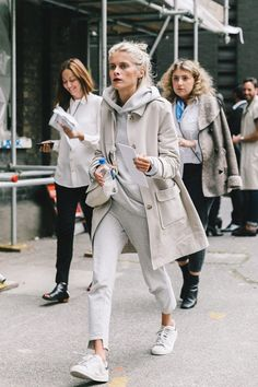 Street Style_ casual layers of light grey marl with an outer of stone paired with white casual sneakers || Saved by Gabby Fincham ||