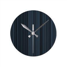 #stripes - #Slate Stripes Round Clock