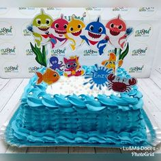Baby Boy 1st Birthday Party, Girl Birthday Themes, First Birthday Cakes, 2nd Birthday Parties, Birthday Decorations, Shark Cake, Shark Party, Balloon Bouquet, Baby Shark