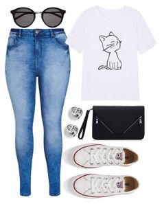 """""""Untitled #693"""" by joslynaurora on Polyvore featuring City Chic, Converse, Yves Saint Laurent, FOSSIL, women's clothing, women, female, woman, misses and juniors"""