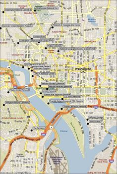 Map of Washington DC Attractions-Find travel sightseeing landmarks, museums, parks in the Washington DC, & Arlington, Virginia areas. Washington Dc Attractions, Washington Dc Vacation, Washington Dc Travel, Washington Dc Hotels, Washing Dc, Arlington Virginia, East Coast Travel, Vacation Trips, Vacations