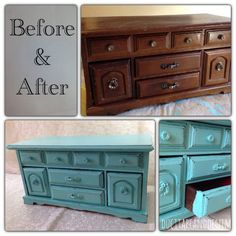 Before and after photos of homemade chalk paint on an old jewelry box | DuctTapeAndDenim.com