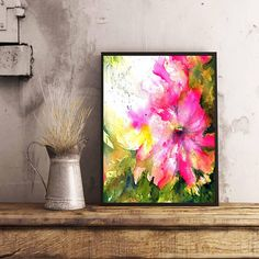 Floral Abstract Watercolor painting For Her Valentines Day