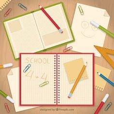 School notebook with papers  Free Vector