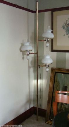 Vintage 60s 70s Tension Pole Lamp W Amber Glass Shades 3