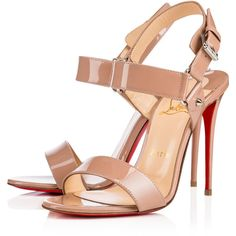 Christian Louboutin Sova Heel (€715) ❤ liked on Polyvore featuring shoes, sandals, heels, louboutin, nude, strappy high heel sandals, strap sandals, high heeled footwear, christian louboutin sandals and buckle strap sandals