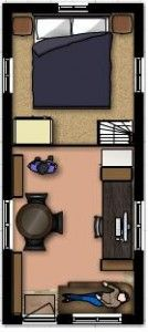 8\' x 19\' tiny house floor plans (with loft above) ... stairs or ...