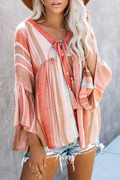 Striped V-neck Tassel Bell Sleeve Holiday Blouse – fulday Bell Sleeve Shirt, Long Sleeve Shirts, Bell Sleeves, White Casual, Casual Tops, Holiday Blouses, Bohemian Blouses, Plus Size Casual, Crew Neck Shirt