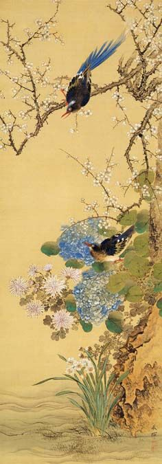 (Japan) Flowers and two Birds by Okamoto Shuki (1807- 1862). 名花双禽.